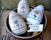 Easter Egg Bowl Fillers Three Folk Art Embroidered and Beaded Easter Decorations Rustic Felt Eggs Primitive Stitchery Easter Decorations