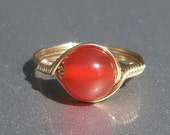 Lg Carnelian 14k Gold Filled Wire Wrapped Gemstone Ring Custom Sized