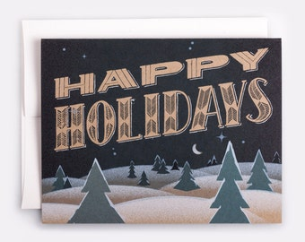 "Happy Holidays Card - 100% Recycled French Paper Speckletone Kraft, Vintage Inspired, 4.25"" x 5.5"" A2"
