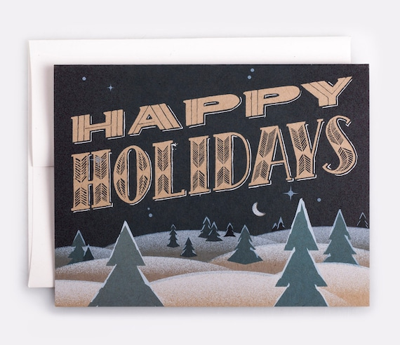 """Happy Holidays Card - 100% Recycled French Paper Speckletone Kraft, Vintage Inspired, 4.25"""" x 5.5"""" A2"""