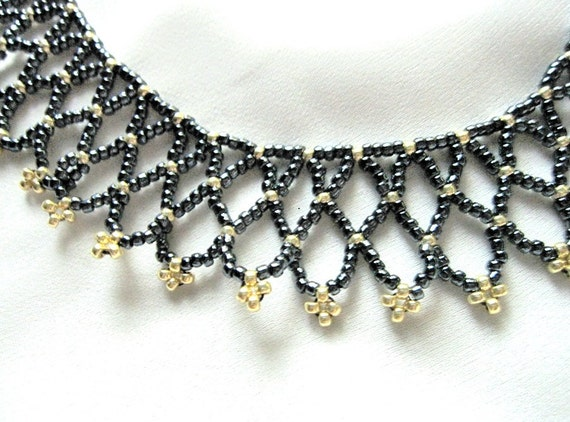 items similar to black and gold beaded collar beadwork