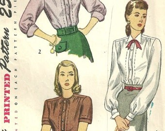 Vintage 40s Sewing Pattern / Simplicity 2132 / Blouse / Size 14 Bust 32