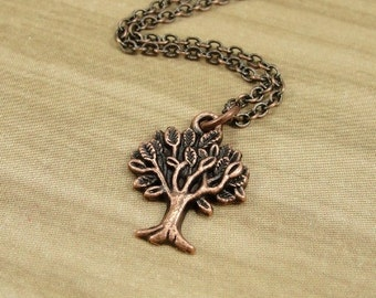 Tree of Life Necklace, Antique Copper Tree of Life Charm on a Copper Cable Chain