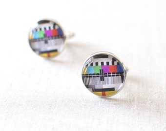 TV Test Card Cufflinks. TV Test Pattern Cufflinks. Screen Test Cuff Links.  Monoscope Cufflinks. Geek Cufflinks.