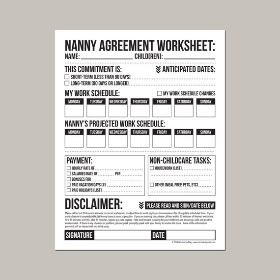 Nanny Agreement Worksheet Printable Pdf Sheet