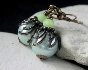 White Pearl Glass Bead Earrings - A.81