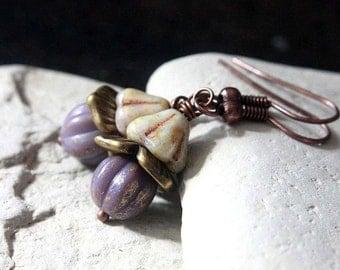 Purple Melon-Shaped Czech Glass Bead Earrings - A.1035
