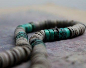 Navajo Necklace Geometric Turquoise Gray Heishi Shell Chunky Minimalist December Birthstone Tribal Fashion Native Jewelry Teal Blue Lilac