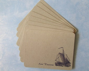 Sailing the Seas Personalized Flat Notecards - Nautical Personalized Gift for Men -  8 Personalized Flat Notecard  Set  + 8 Rustic Envelopes