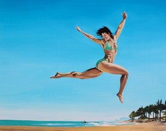 Original Figure Painting, Flying Dancer on the Beach, Seascape Oil on Canvas, Blue Sky Celebration