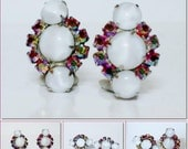 Vintage White Moonstone & Firery AB Rhinestone Clip Earrings  High End Quality!
