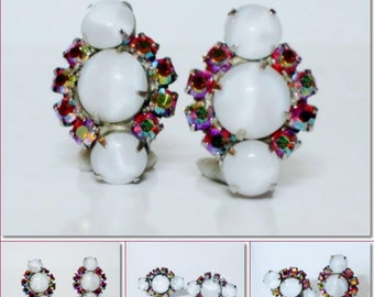 Vintage White Moonstone & Firery AB Rhinestone Clip Earrings  High End Quality!