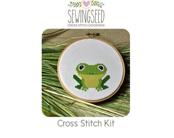 Frog Cross Stitch Kit, DIY Embroidery Kit, Nature Lover Gift, DIY kit