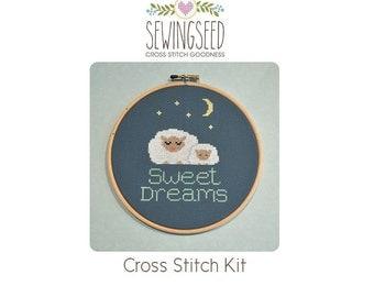 Sweet Dreams, Sleeping Mama and Baby Sheep Cross Stitch Kit