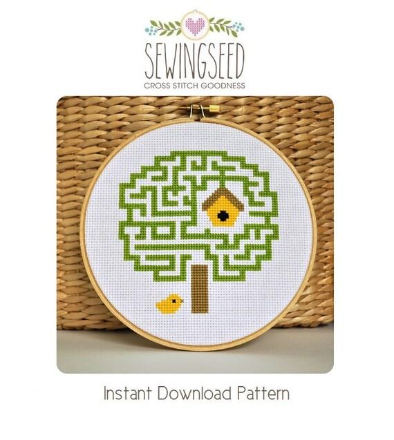 Cross Stitch Pattern, Maze Tree, Embroidery Pattern