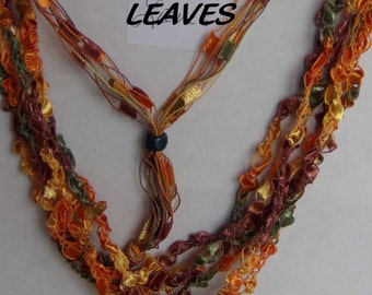 Leaves - Hand Crocheted Ladder Ribbon Necklace