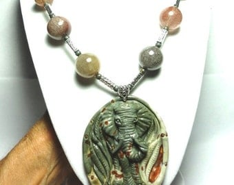 Carved Jasper Elephant Necklace Elephant Carved in Gray Jasper Pendant and Necklace with Rutilated Quartz and Sterling