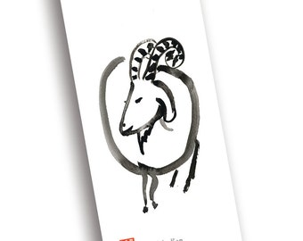 Chinese New Year of the Sheep, Ram, Goat Chinese zodiac postcards, red evelope, Japan style, zen art cards & red envelopes, free shipping