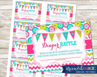 Baby Shower Diaper Raffle Cards for Cute as a Button, Printable PDF Diaper Raffle Ticket, INSTANT DOWNLOAD