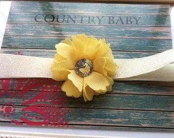 Light Yellow Headband...Baby Yellow Headband...Newborn Yellow Headband...Yellow...Yellow Baby Headband...Yellow baby flower headband
