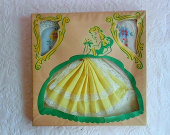 Vintage CRINOLINE LADY HANDKERCHIEF Paper Doll Box Embroidery Skirt Dress Lace Southern Belle Hankie Hanky Unused Set 1950 Pink Blue Yellow