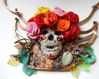 Sugar Skull Necklace w/Rib Bone Chain