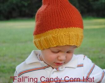 Falling Candy Corn Hat Knitting Pattern