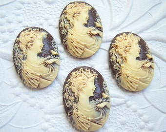 2 - Antiqued girl and bird cameos, 25x18mm resin cameo -  ZX36