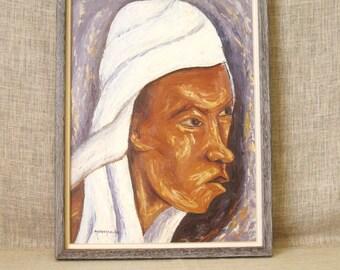 Vintage Haitian Male Portrait Painting, Signed Mathilde Desrosiers, Original Fine Art, Portraiture, Caribbean, Framed, Hand Painted, Panel