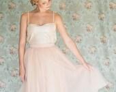 Women's blush pink tea length tulle skirt / adult tutu peach ballerina midi skirt  - made to order