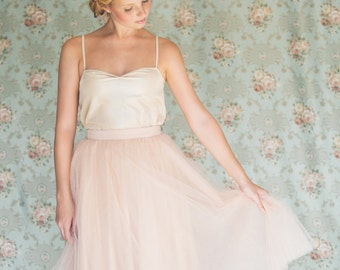 Blush tulle skirt , tea length skirt , Bridesmaid skirt , engagement skirt ,pink tutu skirt , midi tulle skirt, blush skirt,  Adult Tutu