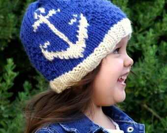 Knitting PATTERN-The Harbor Anchor Hat (24-48mos,Child,Adult sizes)