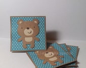 Adorable Baby Bear and White Mini  Polka dot- Mini cards Thank you Cards Cutomer Thank You Cards( Set of 4)