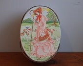 Vintage Metal Pink Picnic Tin with Handles, Sewing Kit, Lunch Basket, Oval, Girl with Roses, Easter