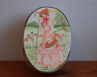 Vintage Pink Picnic Tin with Handles, Sewing Kit, Lunch Basket, Oval, Girl with Roses, Easter, Metal