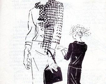 50s Designer Suit Pattern - Vintage Spadea S419 - Bust 35 Victor Stiebel