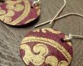Burgundy Gold Brocade Mini Earrings