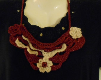Free-form Crocheted bib necklace in shimmering maroon and cream//gift for her//accessories//jewelry