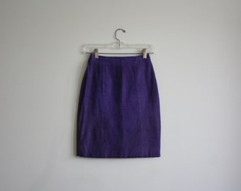 SALE Leather MIni Skirt /Leather Body Con Skirt /Purple and Black Printed Suede /Hourglass Skirt / High Waisted Mini Skirt / Go Go Mod Skirt