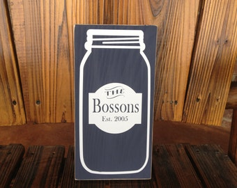 Engagement Gift ~ Mason Jar Decor ~ Farmhouse Year Established Custom Sign ~ Kitchen Signs ~ Last Name Sign Wedding Gift ~ Personalized Sign