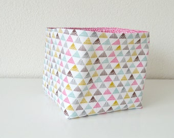 Reversible Fabric Basket - Pink, Green, Brown & Yellow Triangles