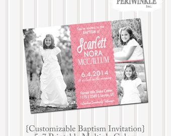 LDS Baptism Invitation Custom 5x7 Printable 4 color options