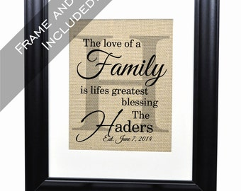Personalized Family Name Burlap Print Monogram Established Family Sign 14x17 Frame and Mat included