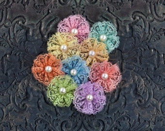 "NEW: Prima Adelynn ""MULTI COLOR"" 574727 Lace Fabric Flowers with Pearl on Center. Scrapbooking, Wedding, Hair Accessories."