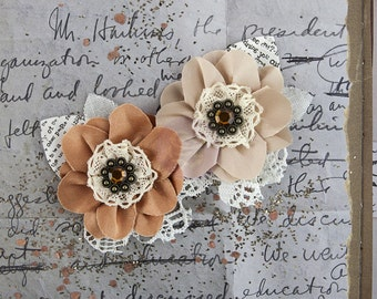 NEW: Prima Fairfield - Cinnamon 577292 Tan Mocha Brown Fabric Flowers Vintage Inspired Flower Appliques. HAir accessories, Hair Ornament.
