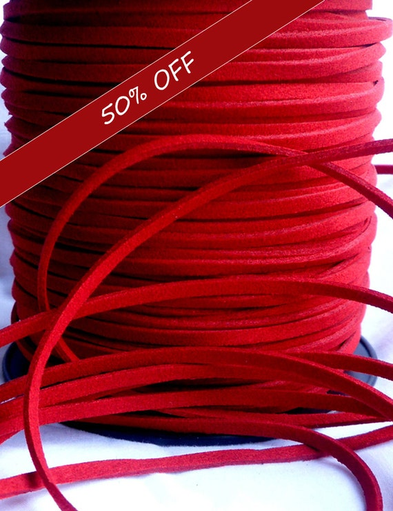 5 Yards- Red Suede Cord