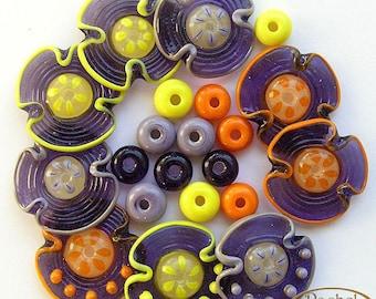 Lampwork Flower Glass Beads in Violet, Yellow and Orange, FREE SHIPPING, Handmade Glass Disc Beads Set - Rachelcartglass