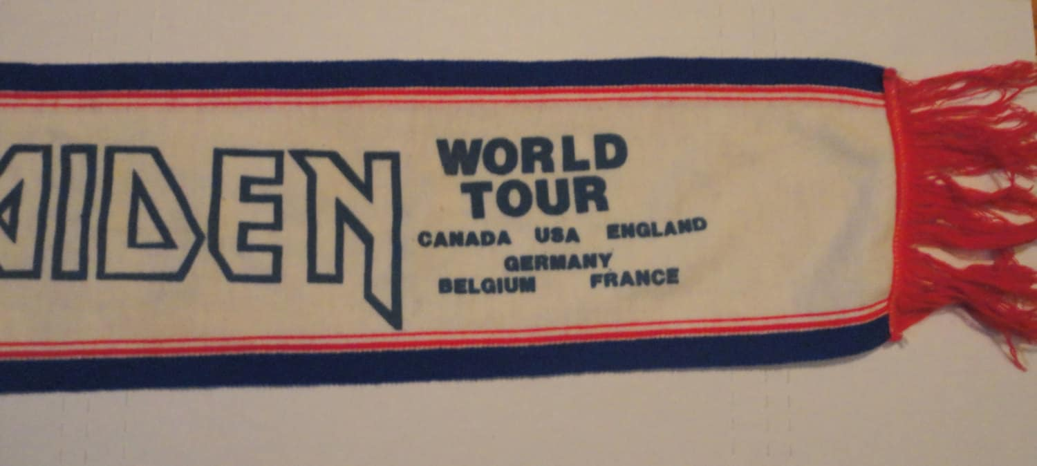 0fc40a1995d VintageTrafficUSA  IRoN MAIDeN NuMbER oF THe BeAST WoRLD ToUR scarf ...