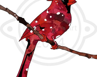 Little Red Cardinal - 8x10 Illustration Print