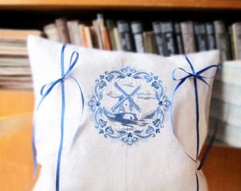 """Linen Pillow Cover, Windmill Pillow, Embroidered Pillow 16""""x 16"""", Decorative Pillow, 100% Pure Linen, Customizable Cushion, Throw Pillow"""
